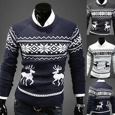 Mens Vintage Novelty Jumper Print Sweater Christmas Rudolph Winter Fairisle Coat