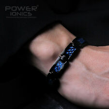 Power Ionics Unisex Black Blue Carbon Fiber 100% Titanium Magnetic Bracelet Band