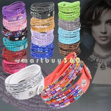 Many Kinds Flannel Jewelry Rhinestone Punk Cuff Wristband Bangle Wrap Bracelet