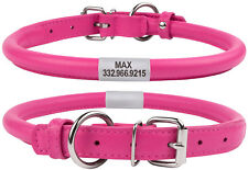 Pink Dog Collar Rolled Round Leather OPTIONAL ID TAG Leash Soft Padded