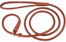 Rolled Round Dog Leather Show Slip Lead collar Leash Black Brown 4 or 6 foot