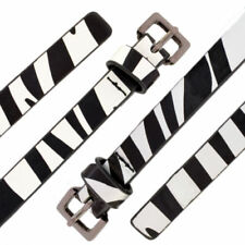 Womens Belt Ladies Zebra Print Fashion Thin Strap Waist Animal Patent Plus Size