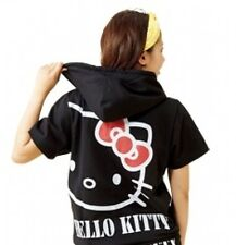 Hello Kitty Parka Hoodie Jersey Wear Tops Black Ribbon Sanrio From Japan Z0321