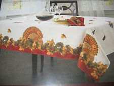 """Fall Autumn Thanksgiving Turkey Ivory Leaves Fabric Tablecloth 52"""",70"""",84"""""""