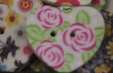 Pack of 10 Heart Shaped Flower Print Wooden Button Beads (171842-89)
