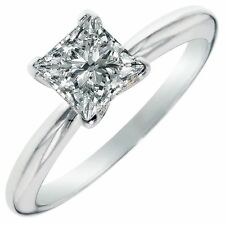 1.75 CT Princess Cut Solitaire Engagement Wedding Ring Real Solid 14K White Gold