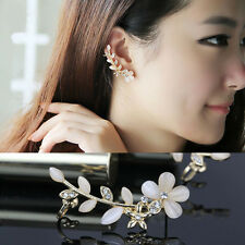 1pc Women's Cute Flower Rhinestone Left/Right Ear Stud Cuff Clip Golden Earring