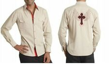 Dress shirts with embroidery of wings and cross long sleeve mens two tone fitted