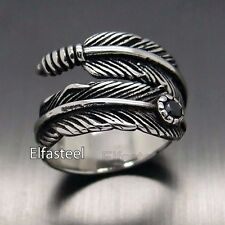 Unisex Silver Black Cubic Zirconia Feather Stainless 316L Stainless Steel Ring