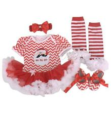 4PCS Baby Infant Girls Christmas Party Santa Tutu Dress Romper Outfits Clothes