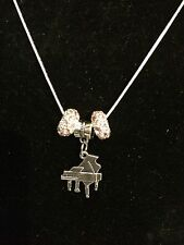 Silver color Necklace with Piano Charm and Crystals Music