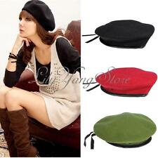 Men Lady Military Cashmere Wool Blend Pure Dome Cap Beret Beanie Army Naval Hat