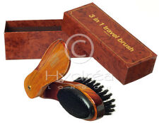 3in1 Clothes Brush,Shoehorn+Lint Remover~FSC Wood~Fifth Wedding Anniversary Gift