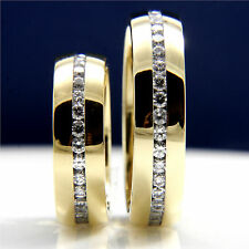 New Stainless Steel Engagement Womens Wedding Mens Bridal Band CZ Ring Set