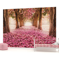 Tree Lined Walk with Pink  Flowers  PHOTO WALLPAPER WALL MURAL ROOM DECOR (851P)