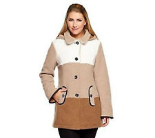 Susan Graver Boucle Fleece Button Front Color-Block Coat with Hood PICK SIZE COL