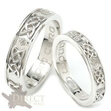 9ct White GOLD GENUINE DIAMOND CELTIC Trinity HIS/HER Engraved Wedding Band Ring