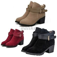 Women Buckle Belt Artificial Suede Block Mid Heel Ankle Short Boots Martin Shoes
