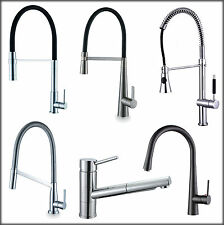 Kitchen Sink Pull Out Spray Mixer Water Tap Faucet Chrome Brushed Steel Black