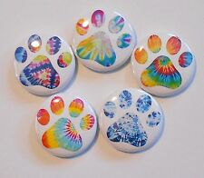 """Tie Dye Paw Prints  Flatback - Pin Back Buttons 1"""" for Bows Etc"""