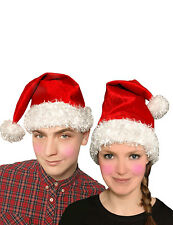 CHRISTMAS UNISEX RED FATHER SANTA VELVET XMAS PARTY FANCY DRESS COSTUME HAT