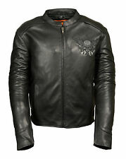Mens Leather Motorcycle Jacket w/ Reflective Skull & Wing - 2 Inside Gun Pockets