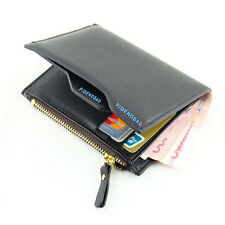 Men's Leather ID Credit Card Holder Clutch Bifold Wallet Zipper Coin Purse