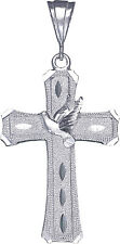 Christian Cross with Flying Dove Pendant in Sterling Silver 925 | Made in USA