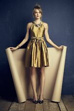 NWT Anthropologie Lille Dress by Harlyn, Size Large / Large Petite, Gold, $298