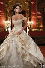 Champagne High quality satin Wedding Dress Bridal Gown Stock Size6 8 10 12 14 16