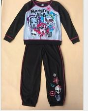 Girls Monster High Gray Black Outfits 2PCS Sets Big Girls Hot Casual Clothes 249