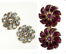 NWT Kate Spade Pinwheel Flower Stud Earrings $98 Crystal or Amethyst