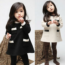 Little Girls Kids Dress Skirt Sleeved Party One-Pieces Outerwear Clothes FT190