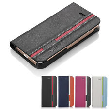 For Apple iPhone 5SE 5S Hybrid Flip Wallet PU Leather Stand Case Cover w/ Film