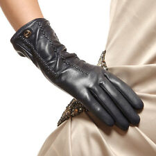 Womens Genuine Nappa Leather Warm Cashmere Lined Gloves Many Color On Sale #009
