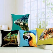 Animal Parrot Lizard Chameleon Sofa Cushion Cotton Linen Bedding Pillow Case