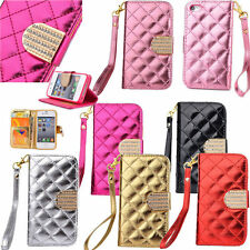 Crystal Bling Fashion Wallet Card PU Flip Leather Case Cover for Mobile