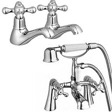 Tall Deck Mount Bath Filler Tap Shower & Twin Hot & Cold Basin Tap Pack WINDSOR