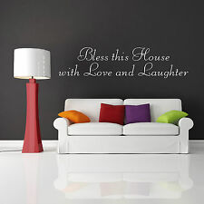 BLESS THIS HOUSE WITH LOVE AND LAUGHTER wall art quote vinyl sticker room decal