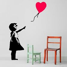 BANKSY STYLE GIRL WITH BALLOON heart shape Vinyl wall art room sticker decal