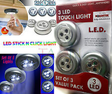 STICK N CLICK LED LIGHTS PUSH ON OFF LIGHT BATTERY OPERATED POWERED 3X4, 6X4