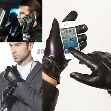 Men's Nappa Leather Touch Screen Gloves for iphone Smartphone Warm Fleece Lining