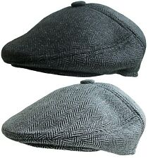 Mens Shaped Flat Cap With Button Top Tweed Country Racing Hat Grey Herringbone