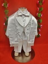 Baby Boy Christening/ Baptism 6 pcs Tail Coat Tuxedo WHITE Sizes S-10 yrs  SALE!
