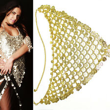 Bling Hip Scarf Belly Dancer DANCING Gold Metal Coin Chain Belt Tribal Costume