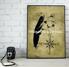 Crow Feather Bird Map Compass Rose Coastal Beach House Art Matted Picture A677