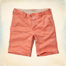 NWT Hollister by Abercrombie Classic Fit At The Knee Shorts Orange Size 30 & 31