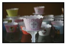 "12 girls christening ""HOLLYCROSS PINK"" Cupcake Wrappers-WORLDWIDE FREE SHIPPING"