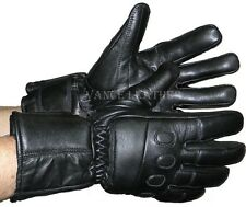 MEN'S MOTORCYCLE GLOVES RIDING GLOVES INSULATED GAUNTLET VERY SOFT LEATHER BLACK