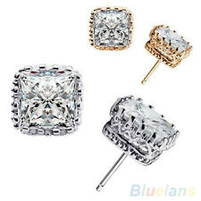 Men's Women's Lover New Luxury Party Square Crown Hollow Zircon Stud Earrings